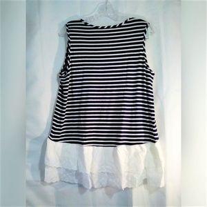 Kim & Cami Tops - Kim & Cami Top Sz L Sleeveless Navy White Stripe